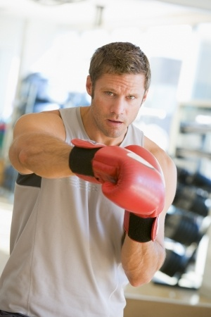 althletic guy boxing